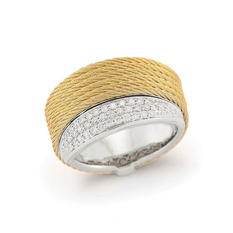 ALOR Classique 18K White Gold Yellow Cable Diamond Ring 02-37-S540-11