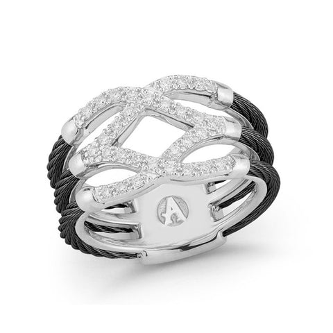 ALOR Noir 18K White Gold & Black Cable Diamond Ring 02-52-0357-11