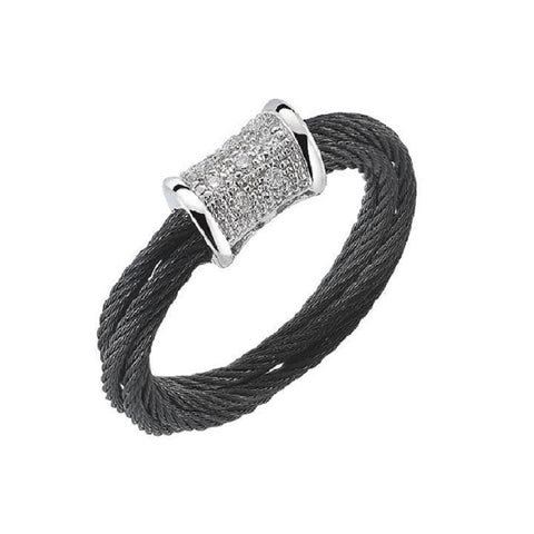 Charriol Modern 18K White Gold Black Cable Diamond Ring 02-52-0505-11