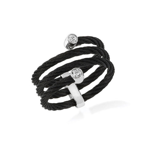 ALOR Noir 18K White Gold Black Cable Diamond Ring 02-52-0601-11
