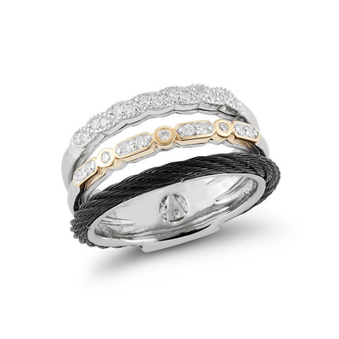 ALOR Noir 18K White & Yellow Gold Black Cable Diamond Ring 02-53-0074-11