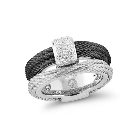 ALOR Noir Black & Grey Cable Women's Diamond Ring 02-54-0411-11