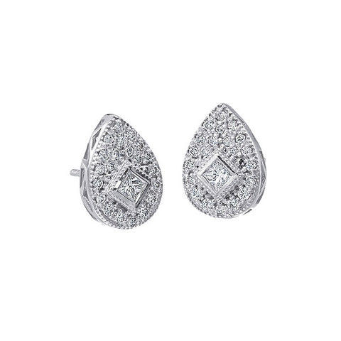 Charriol Flamme Blanche 18K White Gold Diamond Earrings 03-08-8014-11