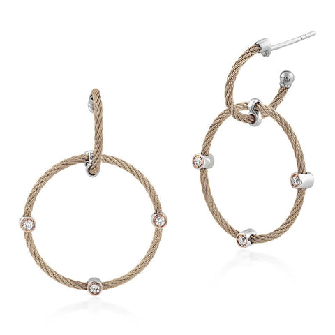 ALOR Carnation Double Hoop Drop Earrings with 18kt Rose Gold & Diamonds 03-26-S632-11