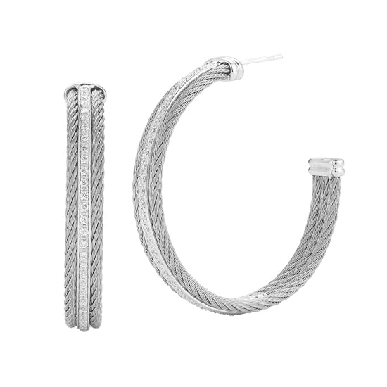 ALOR Classique 18K White Gold Grey Cable Diamond Hoop Earrings 03-32-S311-11