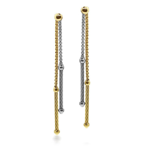 ALOR 18kt Yellow Gold Grey & Yellow Chain Double Drop Earrings 03-34-1064-00