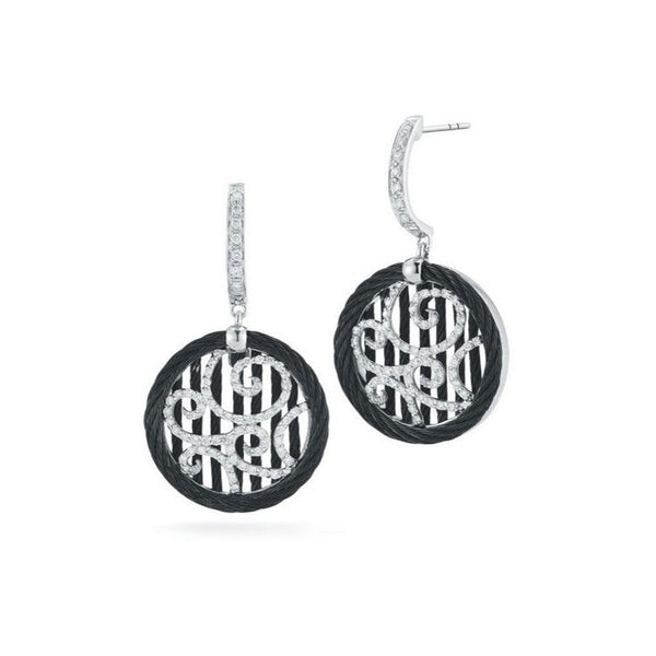 ALOR Noir White Gold & Black Stainless Steel Earrings 03-52-0972-11