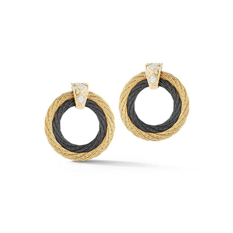 ALOR Noir 18K Yellow Gold, Black & Yellow Cable Diamond Earrings 03-58-0026-10