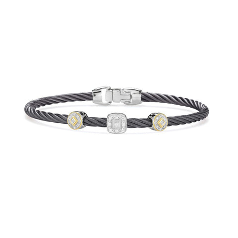ALOR Autumn Hues 18K White & Yellow Gold Diamond Bangle 04-22-S921-11