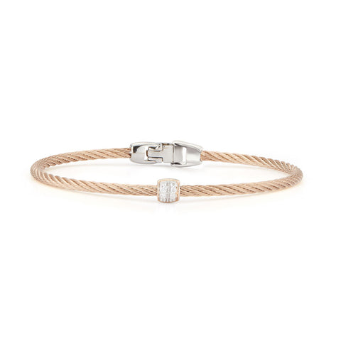 ALOR Classique 18K Rose Gold Carnation Cable Diamond Bangle Bracelet 04-26-S917-11