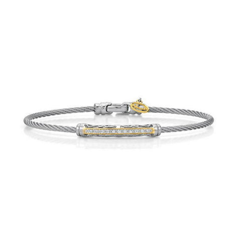 ALOR Classique 18K Yellow Gold Grey Cable Diamond Bangle 04-33-S911-11