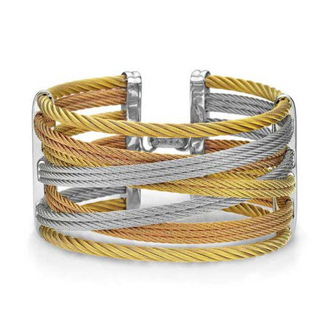 ALOR Classique Grey, Rose, & Yellow Cable Diamond Bangle Bracelet 04-36-S477-00
