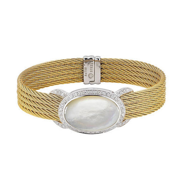 ALOR Classique 18K White Gold Yellow Stainless Steel Bangle 04-37-S098-11