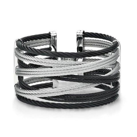 ALOR Noir 18K White Gold Black & Grey Cable Bangle Bracelet 04-54-0477-00