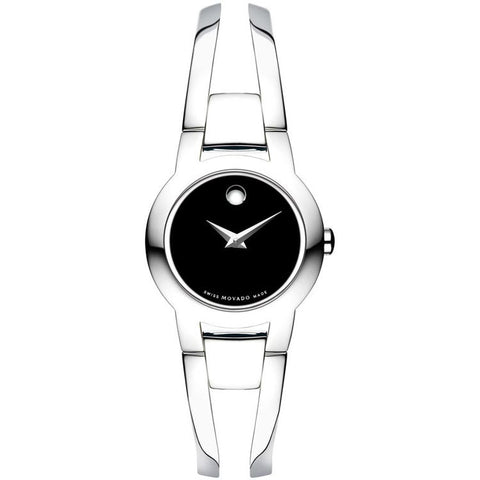 Movado Amorosa Black Museum Dial Steel Bracelet Ladies Watch 0604759