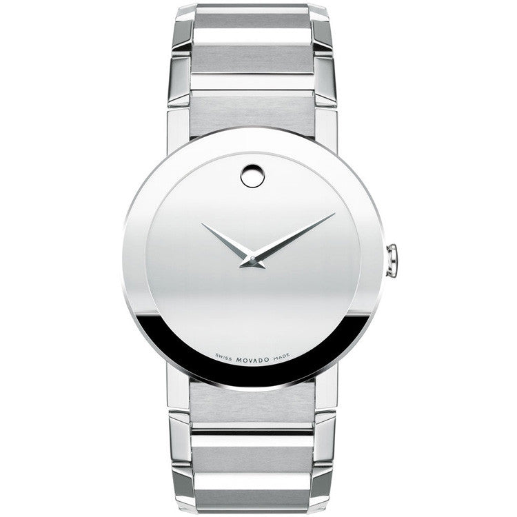 Movado Men's Sapphire Silver Mirror Museum Dial Bracelet Swiss Quartz Watch 0606093