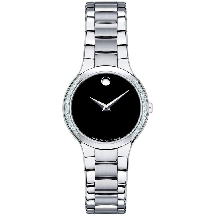 Movado Serio Black Dial Steel Bracelet Quartz Ladies Watch 0606385
