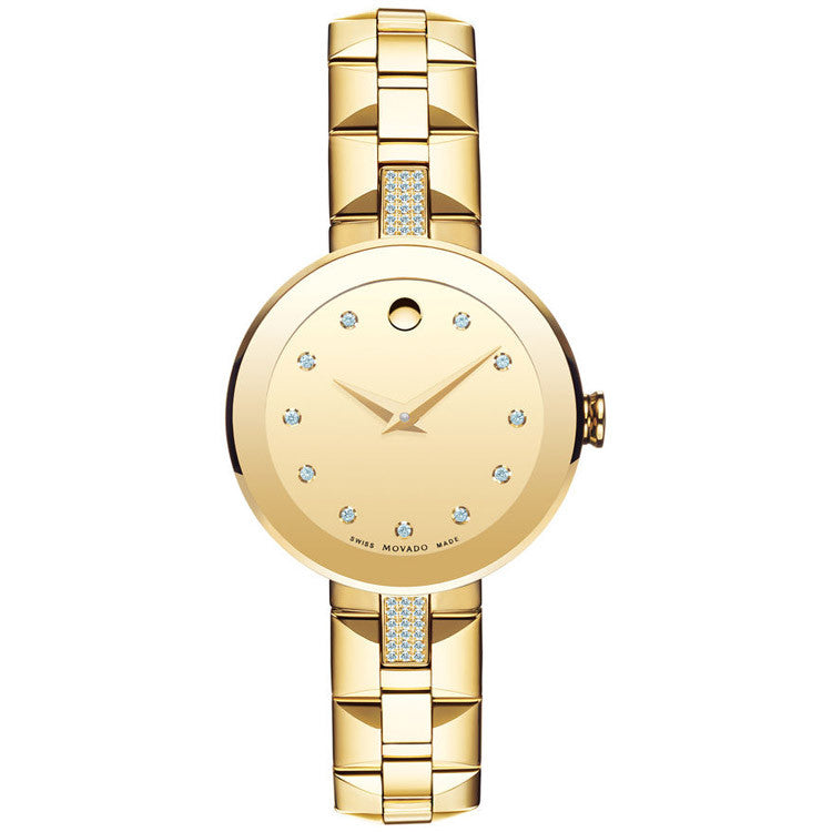 Movado Women's Sapphire Yellow Gold-plated Diamond Watch 0606817