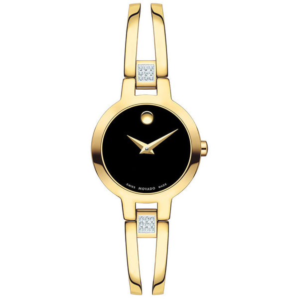 Movado Amorosa Yellow PVD Diamond Swiss Quartz Women's Watch 0607155