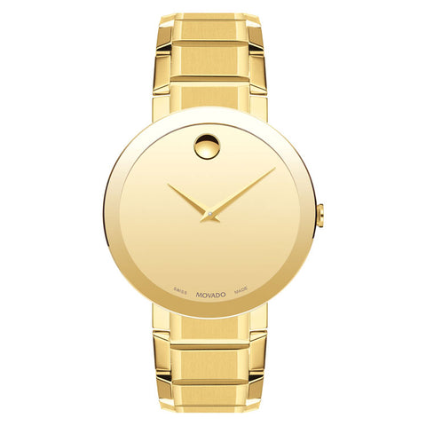 Movado Sapphire 39MM Yellow Gold PVD-finished Swiss Quartz Men's Watch 0607180