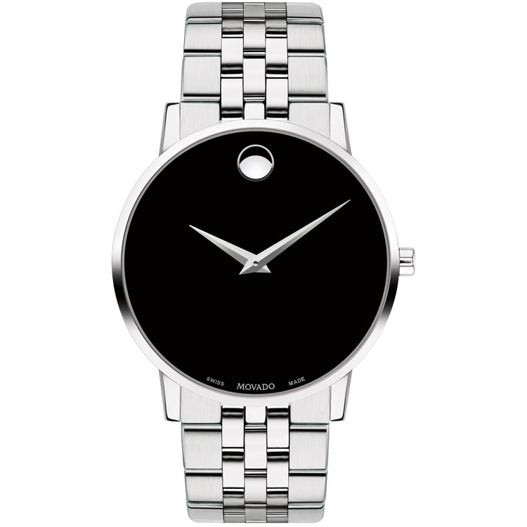 Movado Museum Classic 40MM Black Dial Steel Bracelet Men's Watch 0607199