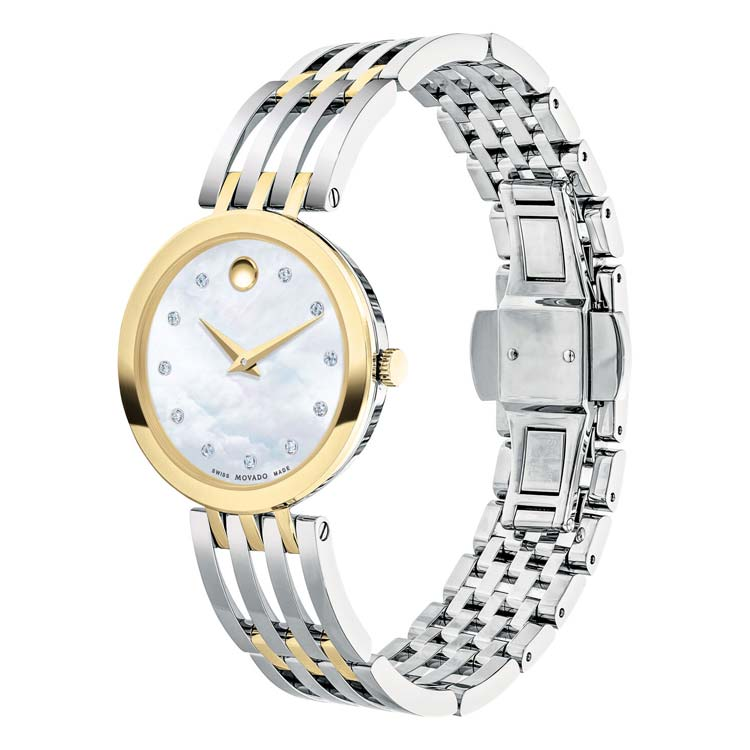 Movado Women's ESPERANZA 28MM Yellow-Gold Mother-of-Pearl Diamond Watch 0607305