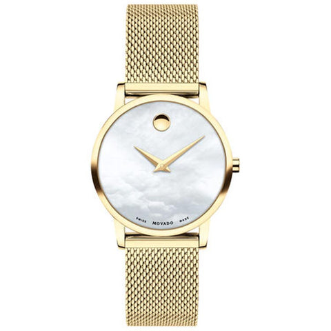 Movado Museum Classic 28mm Yellow Gold PVD-finished Swiss Quartz Ladies Watch 0607351
