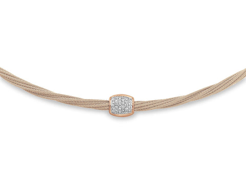ALOR 18K Rose Gold Carnation Cable Diamond Helix Necklace 08-26-S149-11