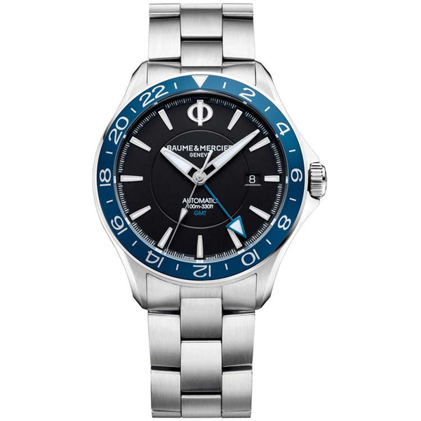 Baume & Mercier Clifton Club Automatic GMT Opaline Black Dial Blue Bezel Men's Watch 10487