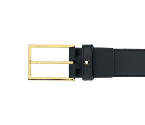 Montblanc Rectangular Shape Black Leather Strap Belt 111277