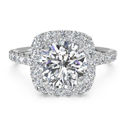 Ritani French-Set Halo Diamond Band Engagement Ring 1RZ1321-4573