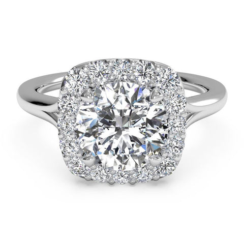 Ritani French-Set Halo Diamond Engagement Ring 1RZ1322-4574