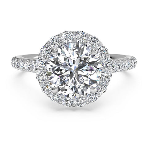 Ritani French-Set Halo Diamond Band Engagement Ring 1RZ1323-4575