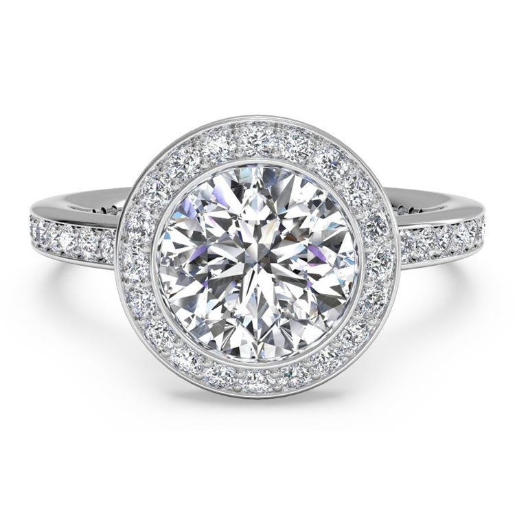 Ritani Halo Micropavé Diamond Band Engagement Ring 1RZ1694-5006