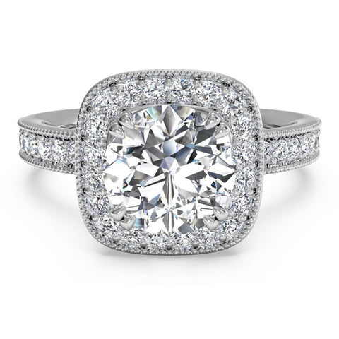 Ritani Vintage Cushion Halo Diamond Engagement Ring 1RZ1698-4579