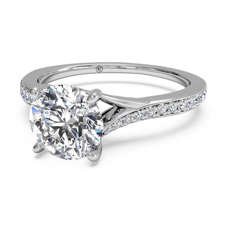 Ritani Modern Bypass Micropavé Diamond Band Engagement Ring 1RZ2490-4562
