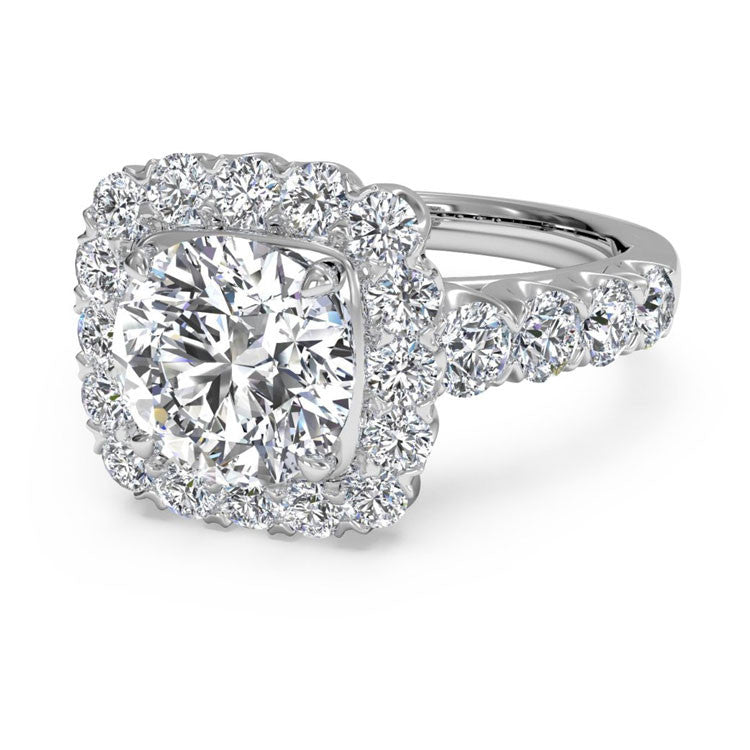 Ritani Masterwork Cushion Halo Diamond Band Engagement Ring 1RZ2817-6289