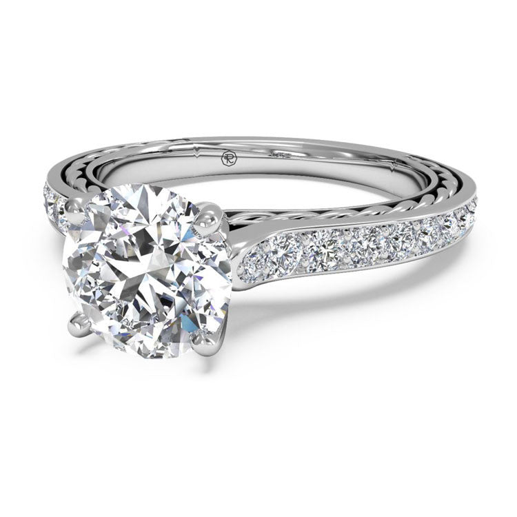 Ritani Solitaire Micropavé Braided Diamond Band Engagement Ring 1RZ2830-4598