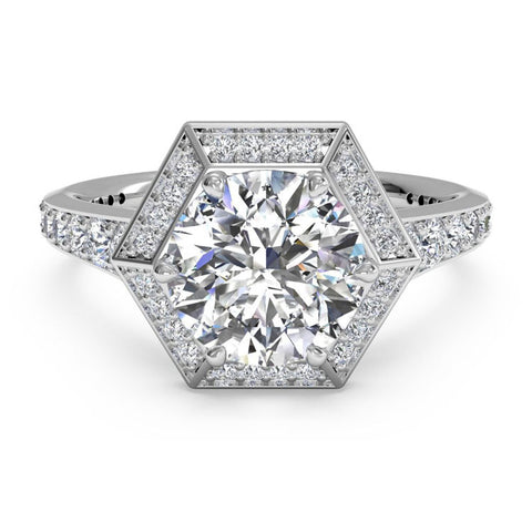 Ritani Vintage Hexagonal Halo Vaulted Diamond Band Engagement Ring 1RZ3105-4610