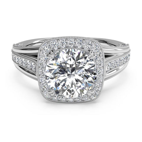 Ritani Masterwork Cushion Halo Vaulted Milgrain Diamond Engagement Ring 1RZ3154-4586