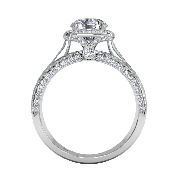 Ritani Masterwork Cushion Halo Triple Diamond Band Engagement Ring 1RZ3156-4587