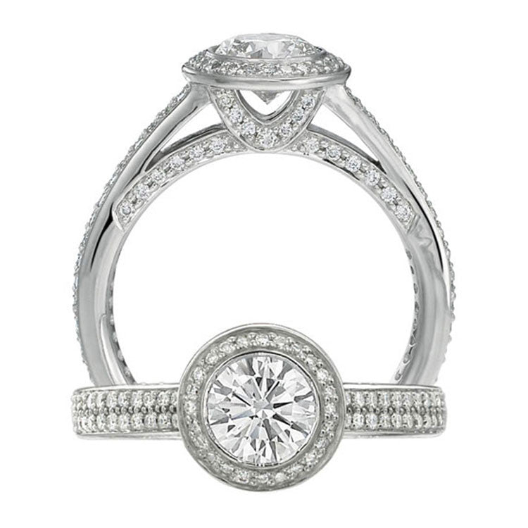Ritani 18K White Gold Endless Love Diamond Engagement Ring 1R3239AR