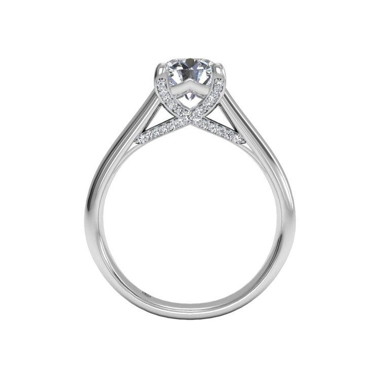 Ritani Solitaire Diamond Engagement Ring with Pavé Tulip Detail 1RZ3245-4564