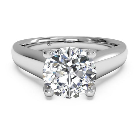 Ritani Solitaire Diamond Engagement Ring with Pavé Tulip Detail 1RZ3245-4964