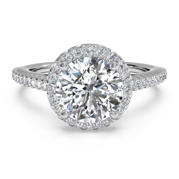 Ritani French-Set Halo Diamond Band Engagement Ring 1RZ3702-4566