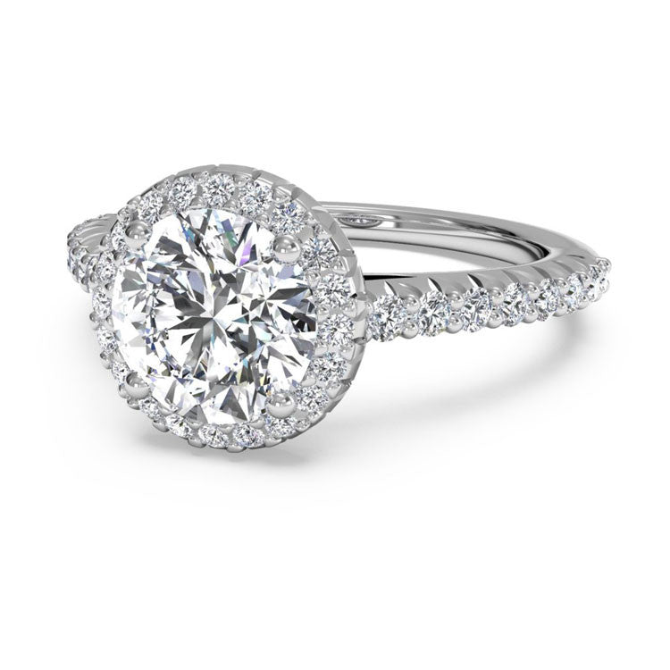 Ritani French-Set Halo Diamond Band Engagement Ring 1RZ3705-4567