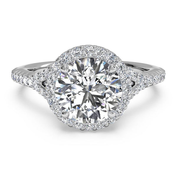 Ritani French-Set Halo Diamond 'V' Band Engagement Ring 1RZ3766-4568
