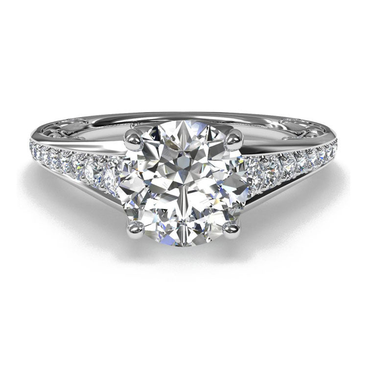 Ritani Lattice Tapered Micropavé Diamond Band Engagement Ring 1RZ4185-4615