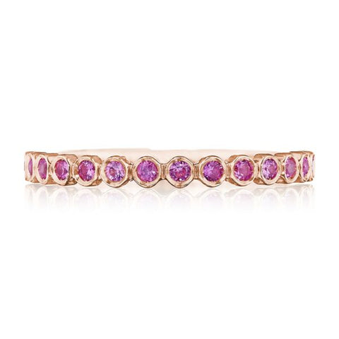 Tacori Sculpted Crescent 18K Rose Gold Pink Sapphire 3/4 Way Wedding band 200-234PKSPK
