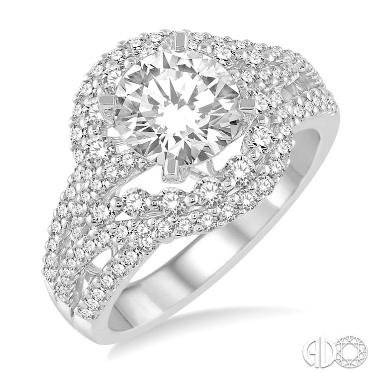 Ashi 14K White Gold Semi-Mount Diamond Ring 214A1FRWG-SM